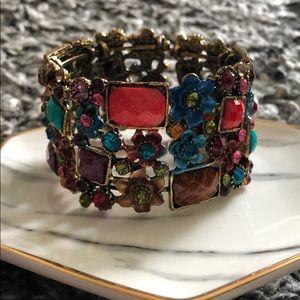 Multi color stone cuff bracelet